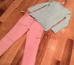 Gap Kids Girl Size 12 Outfit. Teal Sparkle Shirt & Pink Carg