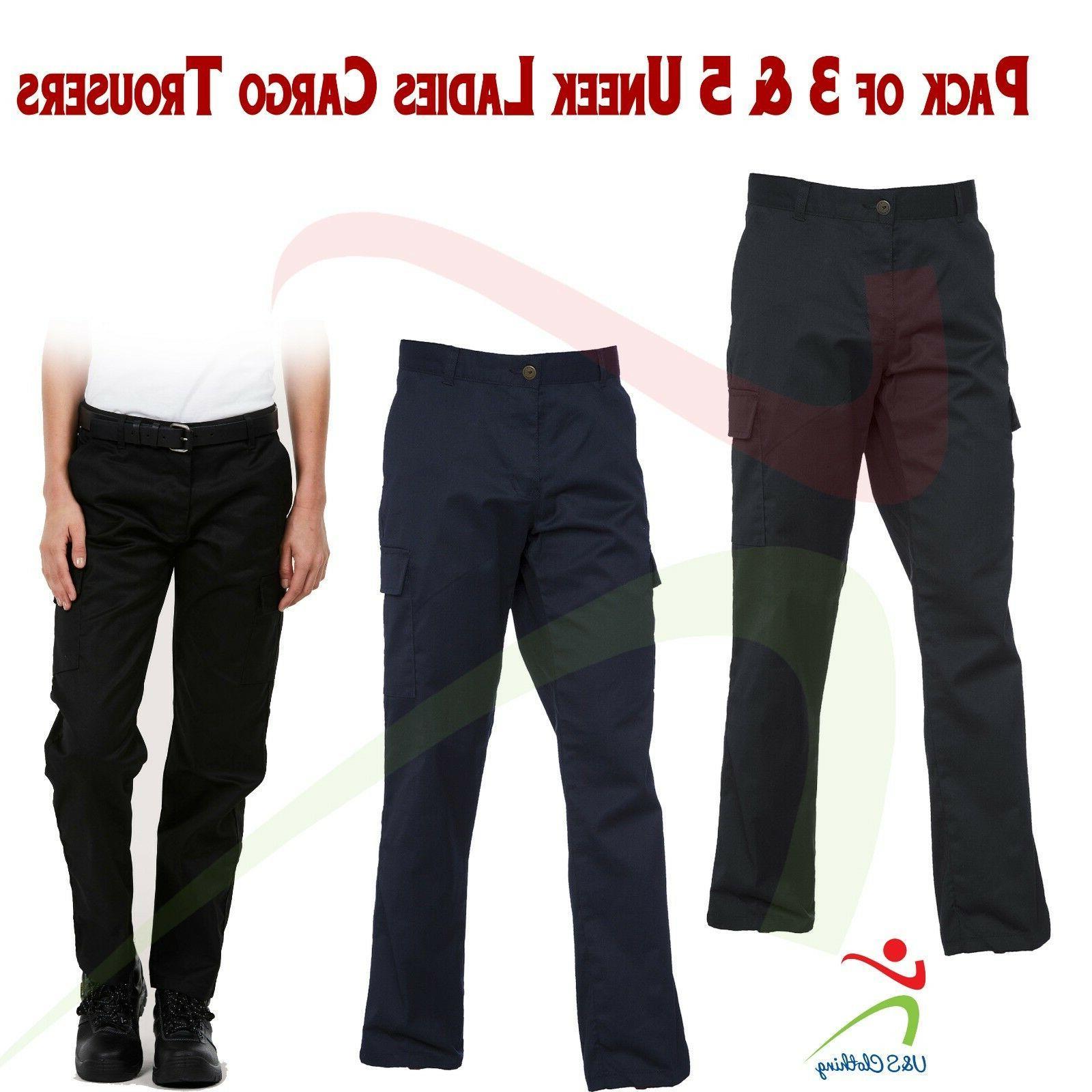 3 OR 5 PACK Ladies Cargo Combat Trouser Womens Work Pants Sa