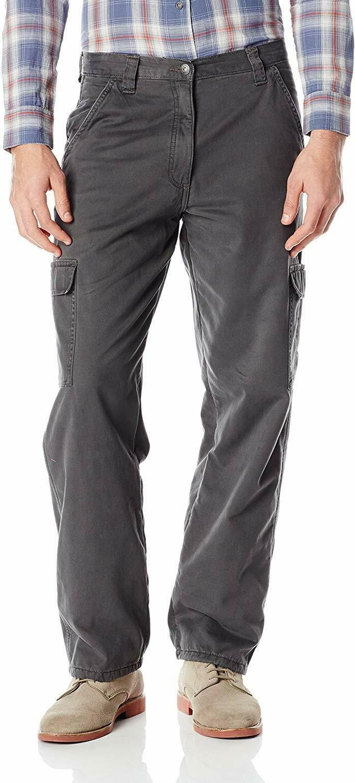 authentics mens fleece lined cargo pant gray