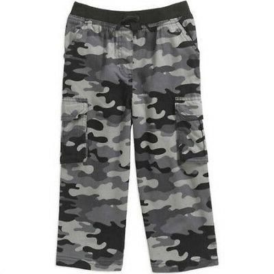 Baby Boys Cotton Cargo Pants Black Camouflage Tab Tie Ribbed