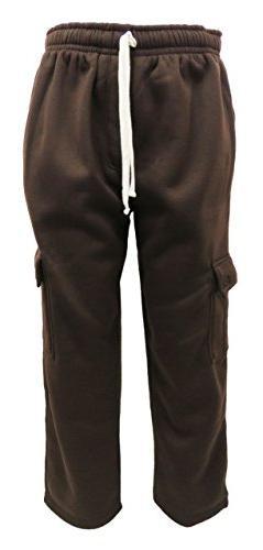 Henry & William Men's Basic Fleece Cargo Pants S Brown