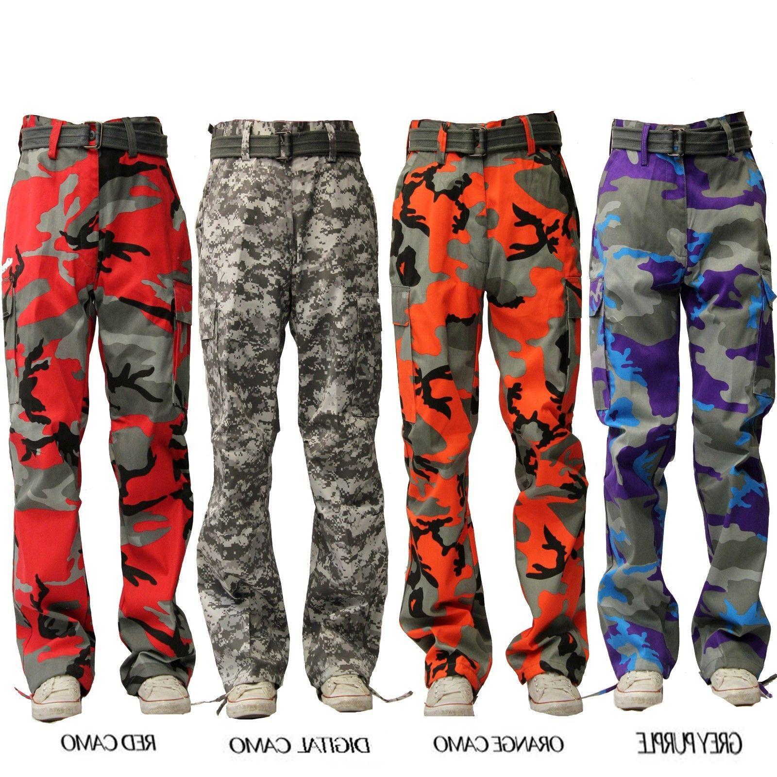 MEN MILITARY ARMY CAMO CARGO PANTS COLOR