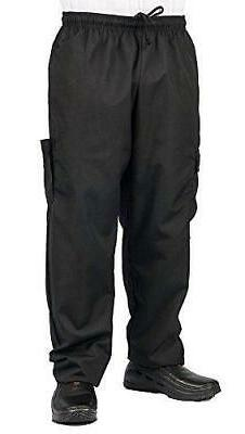 KNG Black Cargo Style Chef Pant, M