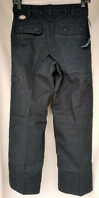 "DICKIES Black Ripstop Cargo Pants 100% Cotton 26"" x 27"" Size"