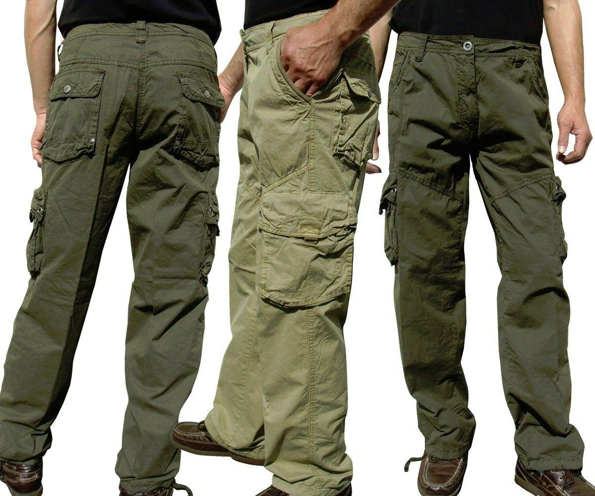 BNWT: MEN'S CASUAL MILITARY ARMY CARGO PANTS CAMO & SOLID CO