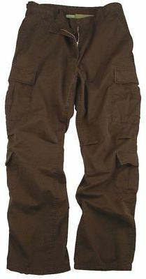 Brown Vintage Military Paratrooper Tactical BDU Fatigue Pant