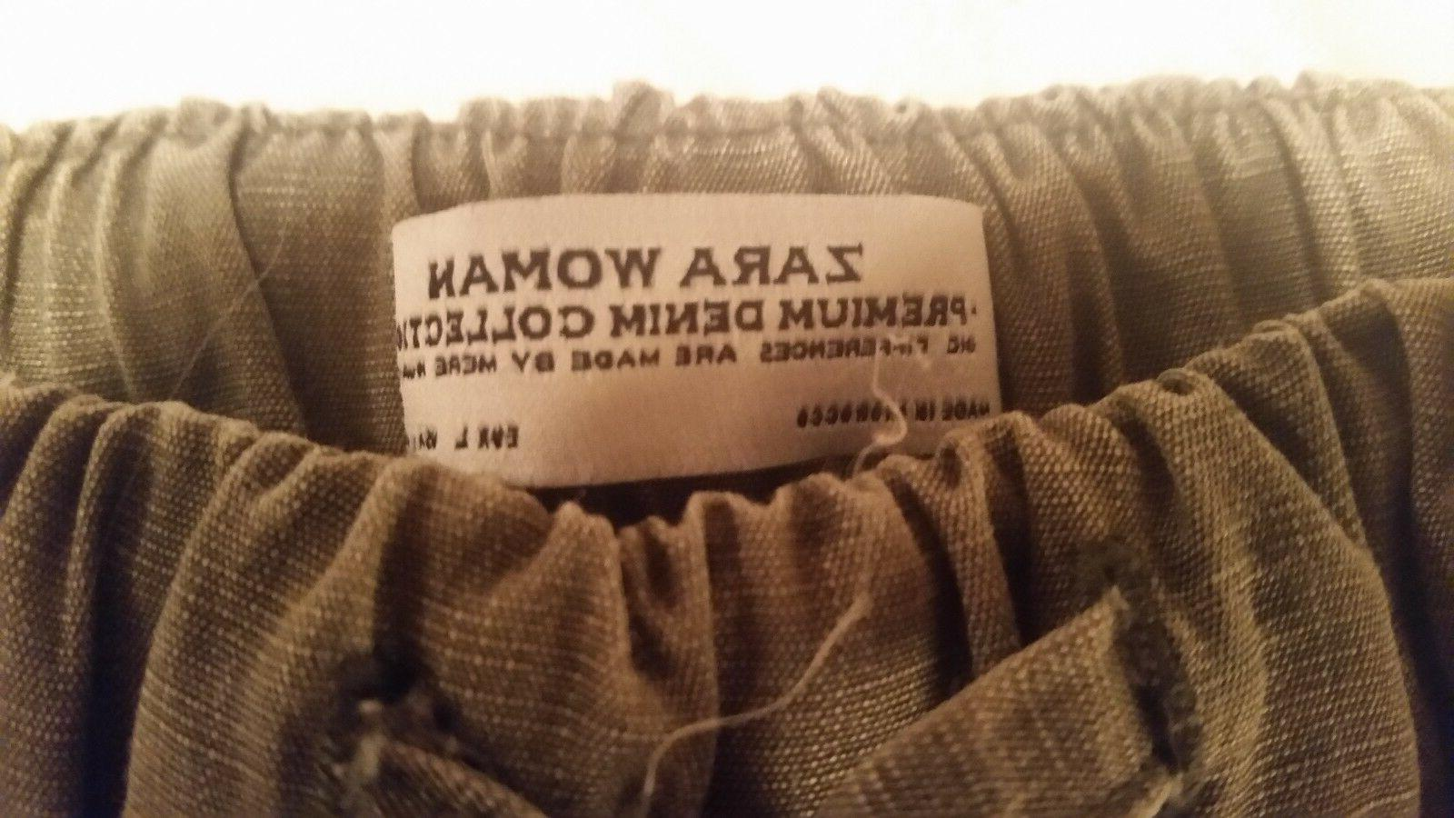 Zara brushed cargo pants tie waist and elastic size