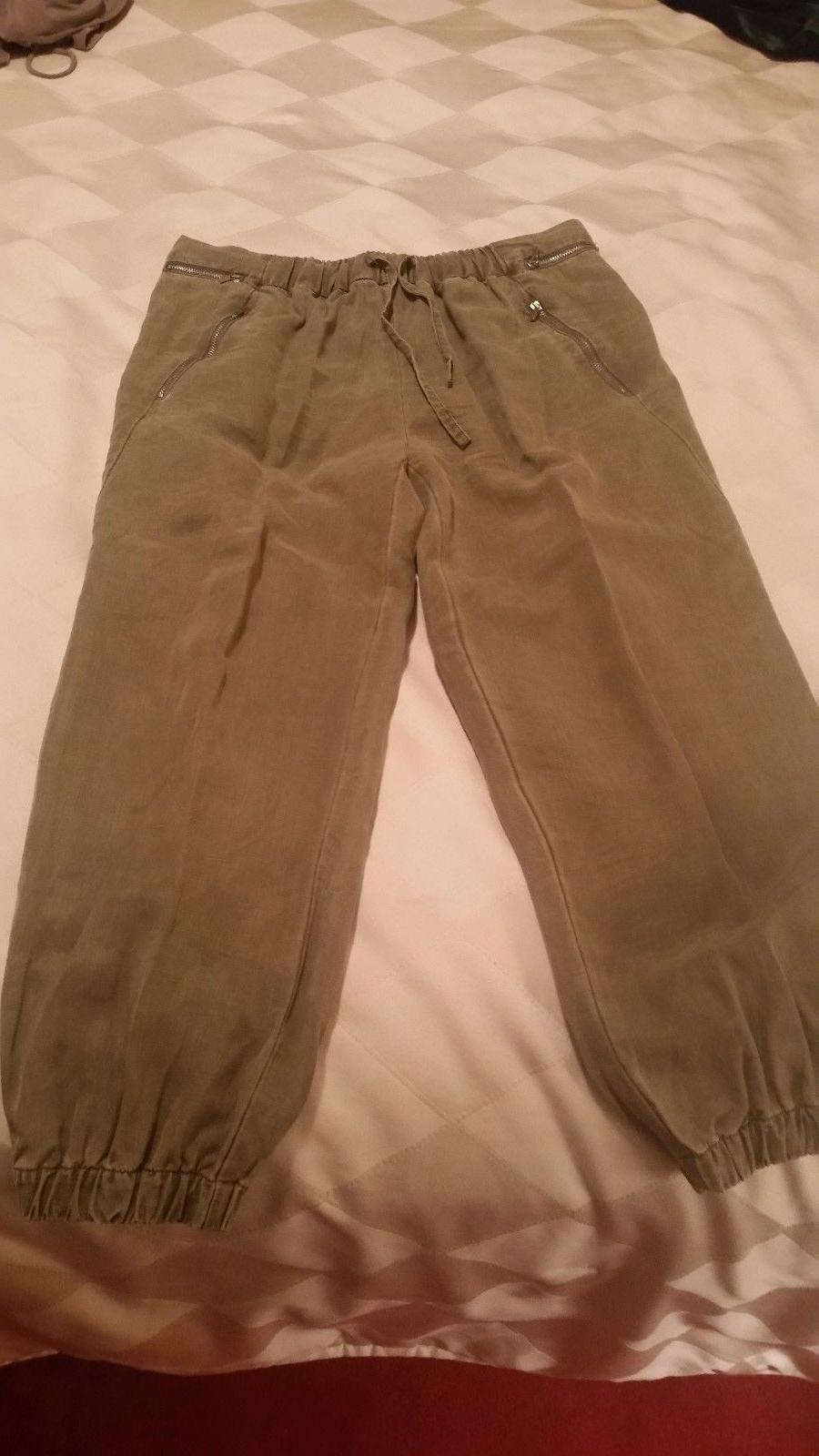 brushed cotton khaki cargo pants tie string