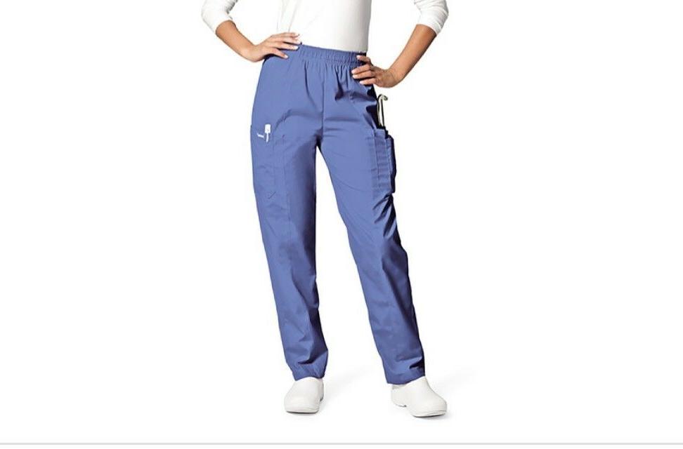 Landau Cargo Nurse Scrubs Pant Straight Leg Elastic Waist Ce