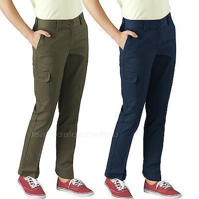 Dickies Cargo Pants Girls Slim Straight Rinsed Cargo Pockets
