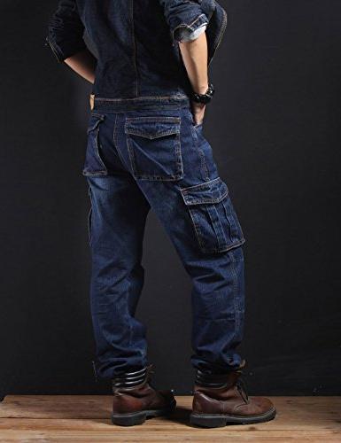 Yeokou Men's Casual Hip Pants Jeans Pockets