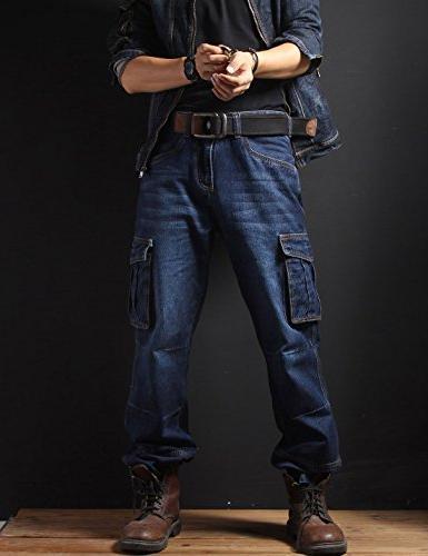 Yeokou Hip Pants Jeans Cargo Pockets