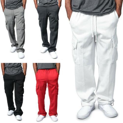 Men's Jogger Heavy Weight Fleece Cargo Pocket Sweat Pants Ca
