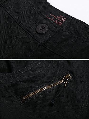 OCHENTA Men's Cargo 8 Casual Work Trousers #3357 Black 36