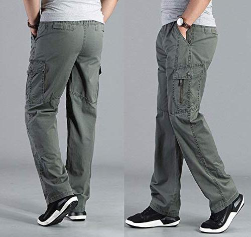 Banana Men's Full Elastic Waist Loose Lightweight Workwear Pull Cargo Pants