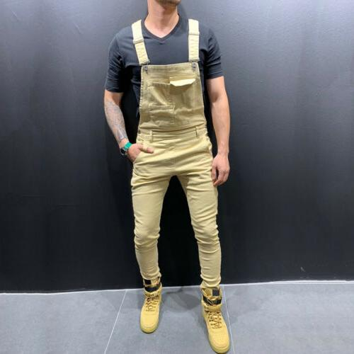 Fashion Men's Jeans Slim Bib Jumpsuits Suspender