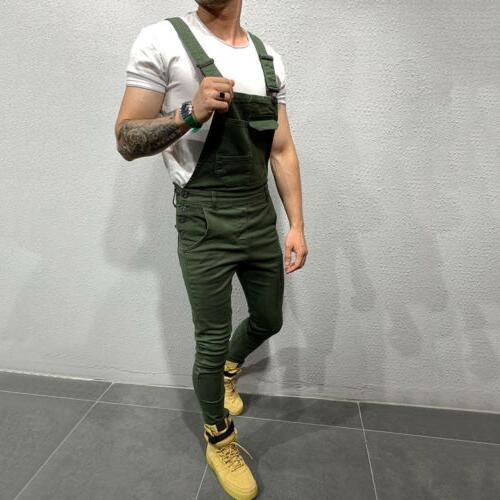 Fashion Denim Slim Pants Bib Suspender Casual US