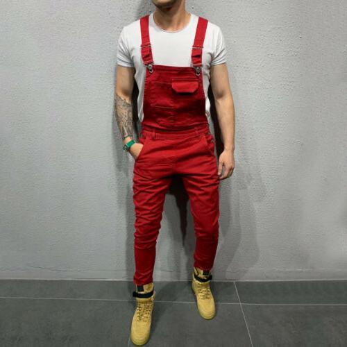 Fashion Denim Slim Bib Jumpsuits Suspender Overalls Casual