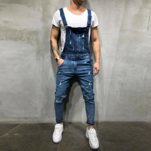 Men Denim Suspender Skinny Jean Jumpsuits