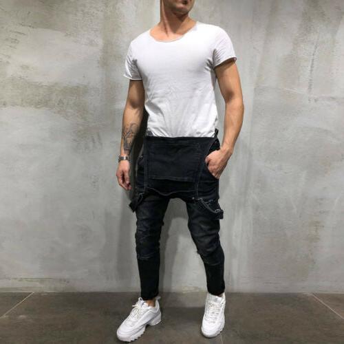 Men Distressed Denim Suspender Trousers Skinny
