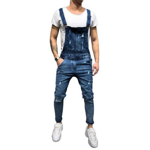 Men Distressed Denim Suspender Skinny