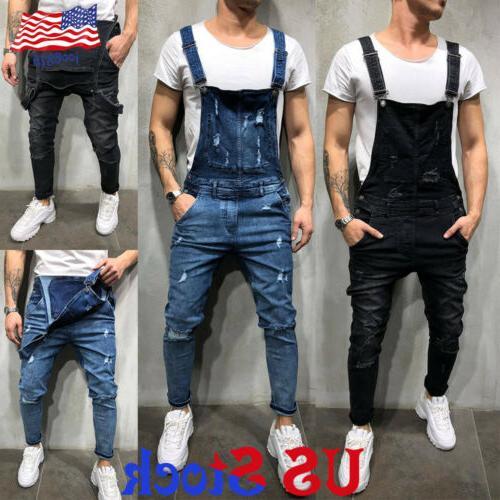 fashion men s slim fit denim overalls