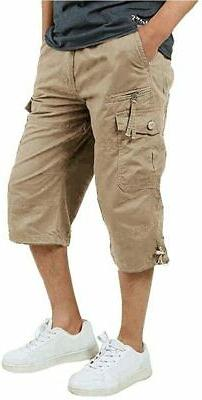 FASKUNOIE Men's 3/4 Cotton Cargo Short Pants Casual Loose Fi