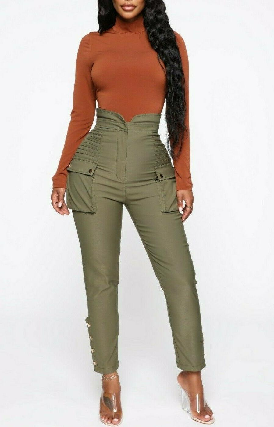 High Waisted Casual Twill Cargo Pants Olive S