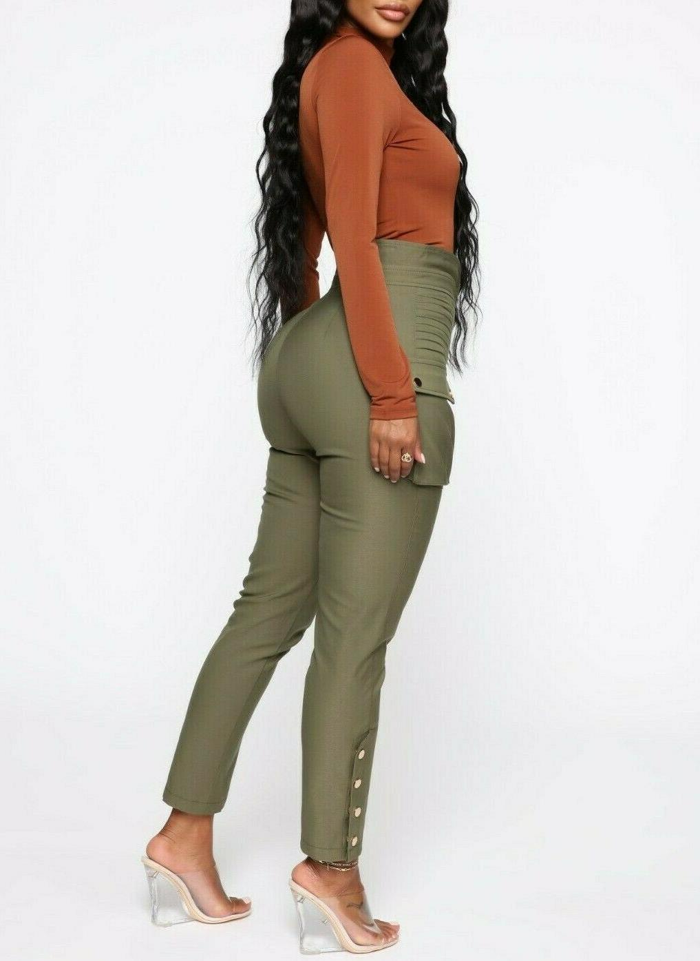 High Waisted Rise Casual Twill Cargo Pants Small S