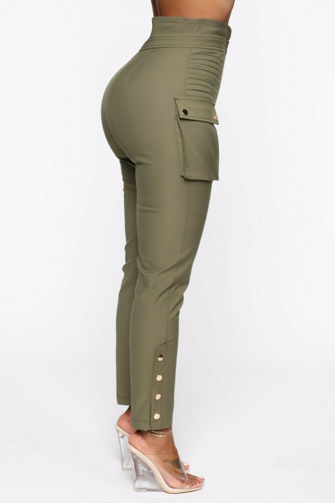 High Waisted Rise Casual Cargo Pants S