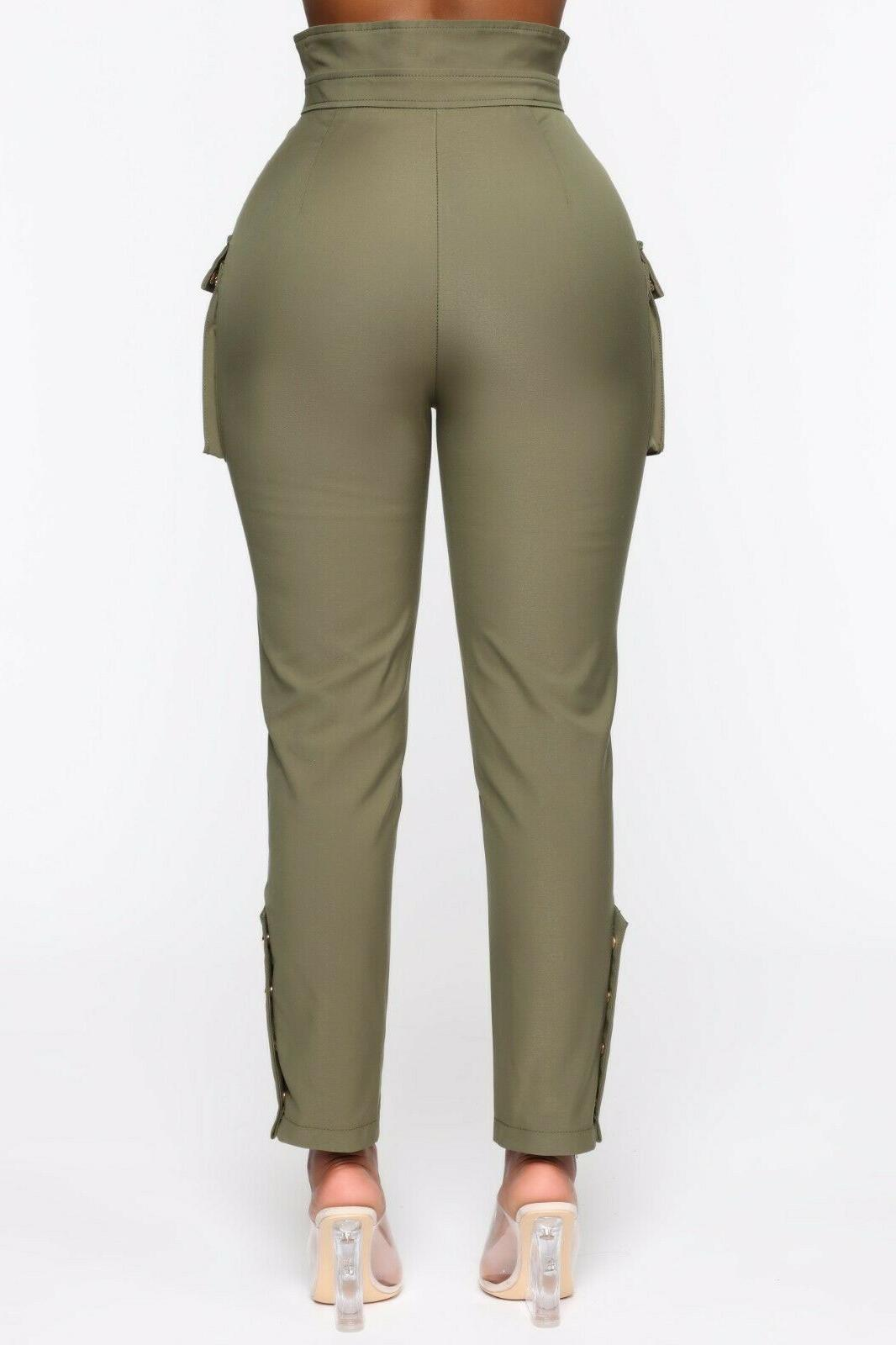 High Rise Casual Cargo Pants Olive Small S
