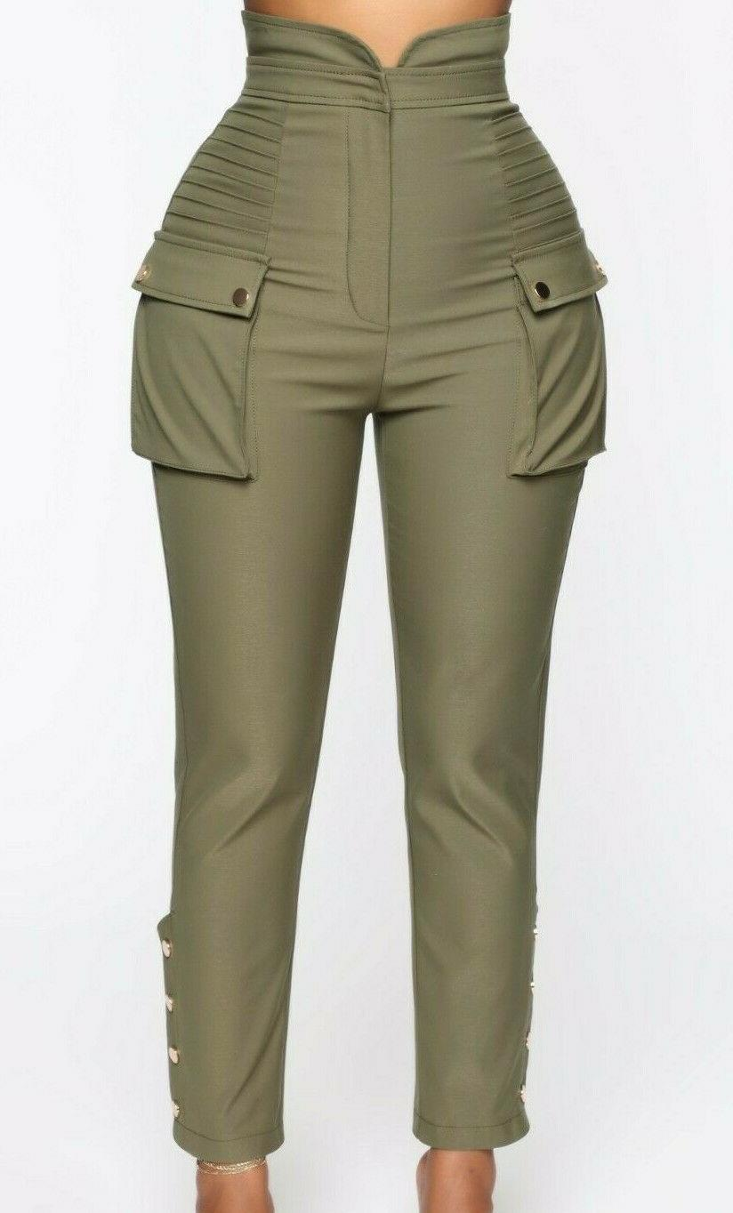 high waisted rise pockets casual buttons twill