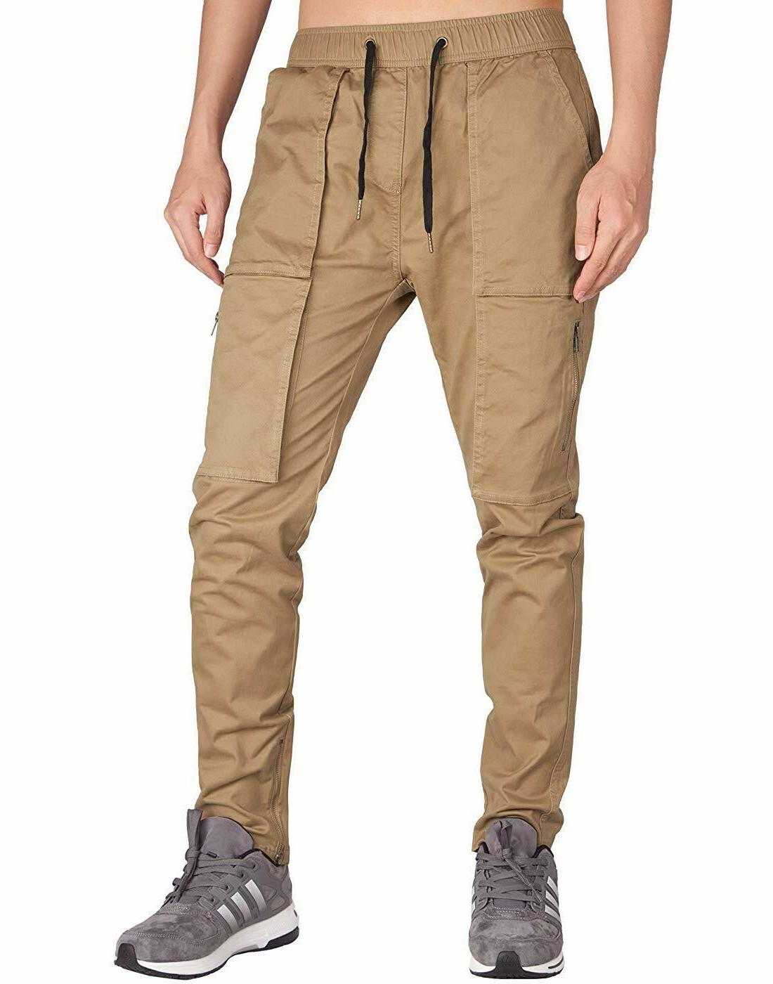 ITALY MORN Men's Cargo Slim Fit Ankle Zipper