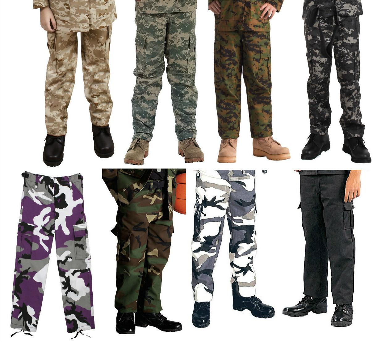 kids bdu cargo fatigue pants camouflage military