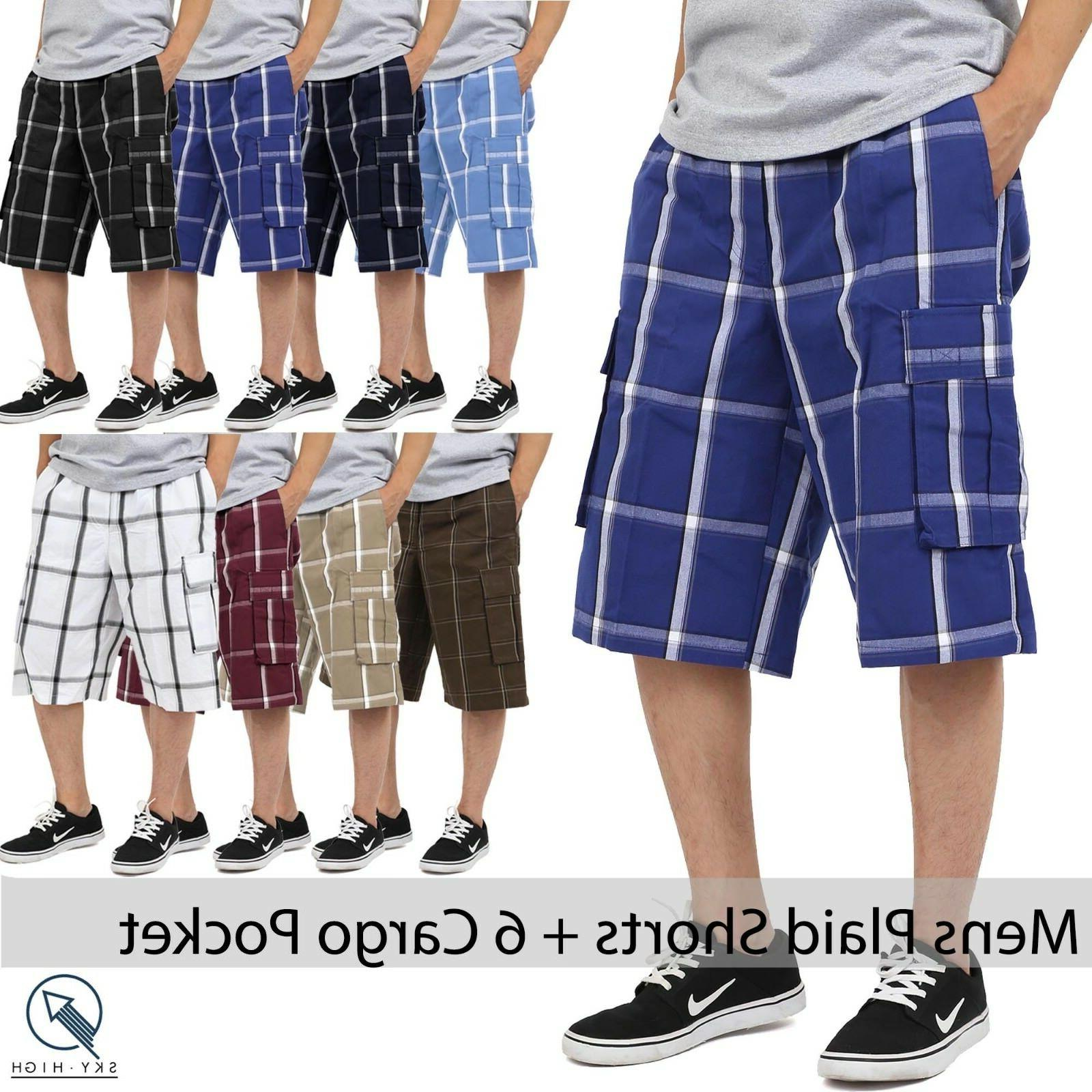 ks mens plaid shorts checkered pants cargo
