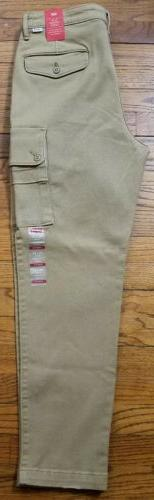 LEVI'S 32x30 Khaki Tan Cargo Slim Tapered $69.50