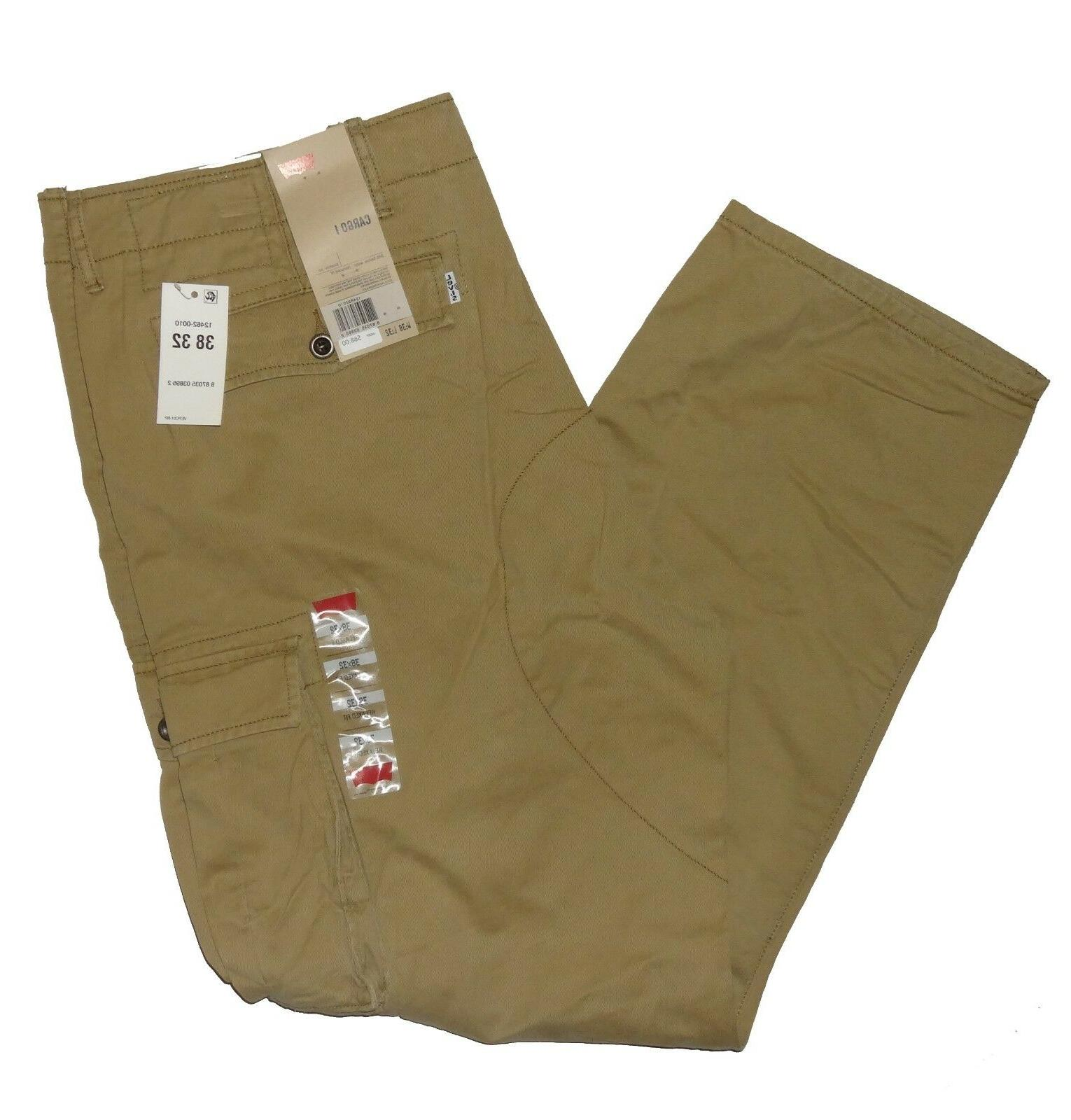 Levis Relaxed Fit Cargo Tan Black 32 38