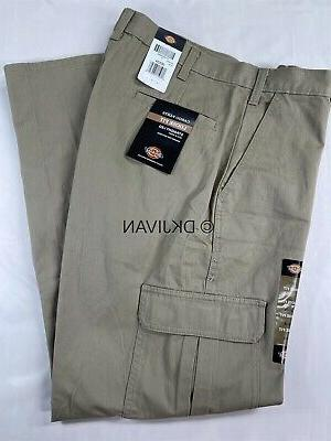 Dickies Men's Loose Fit Cargo Work Pant, Khaki, 30x30