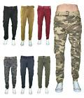 Men Belted Cargo Pants Skinny Slim Fit Army Camo Colored 8 P