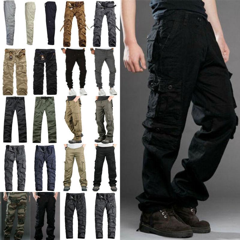 men cargo combat work casual trousers tactical