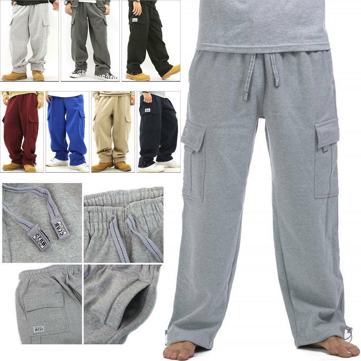men cargo sweat pants track fleece warm
