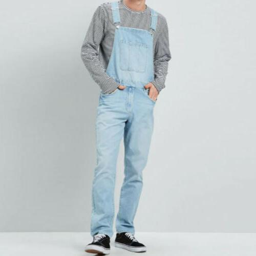 Men Jumpsuit Jeans Suspenders Bib Pants Trousers
