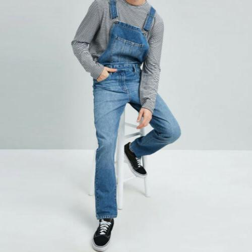 Men Denim Jumpsuit Bib Trousers