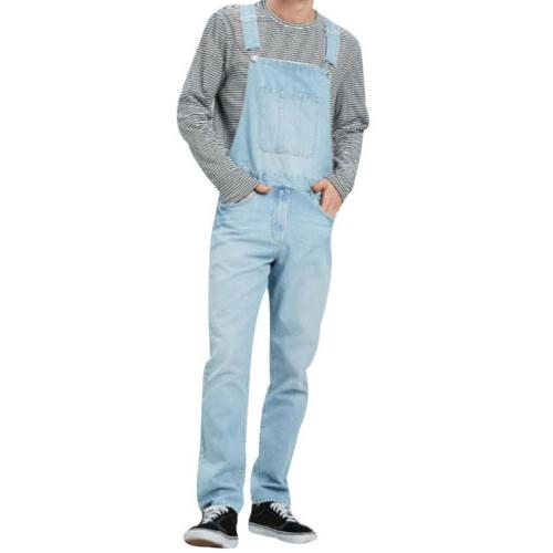 Men Straight Jumpsuit Jeans Bib Pants Trousers