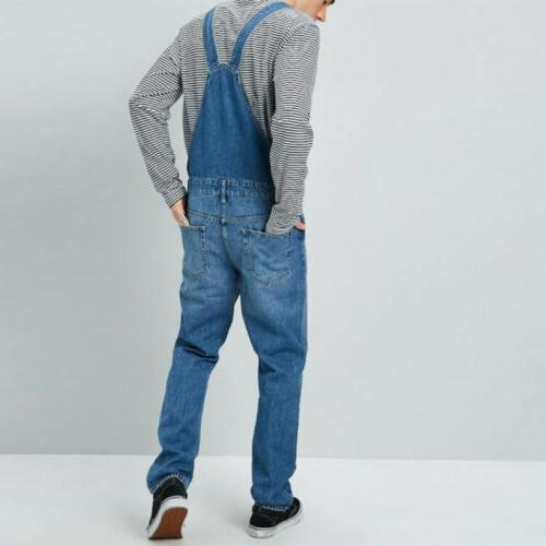 Men Denim Straight Jumpsuit Overalls Bib Pants Trousers