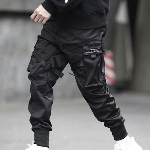 Men Fashion Black Cargo Harem Joggers Street Hop Trousers
