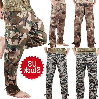 men military cargo pants camo army casual