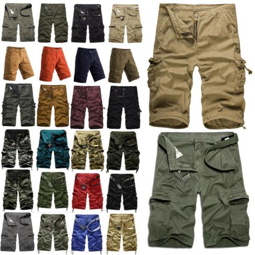 men military combat camo cargo shorts pants