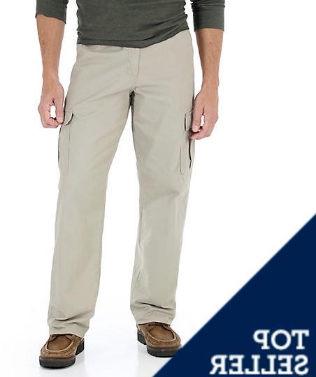 Men's Wrangler BIG MAN Khaki Cargo Pants Relaxed Fit Straigh