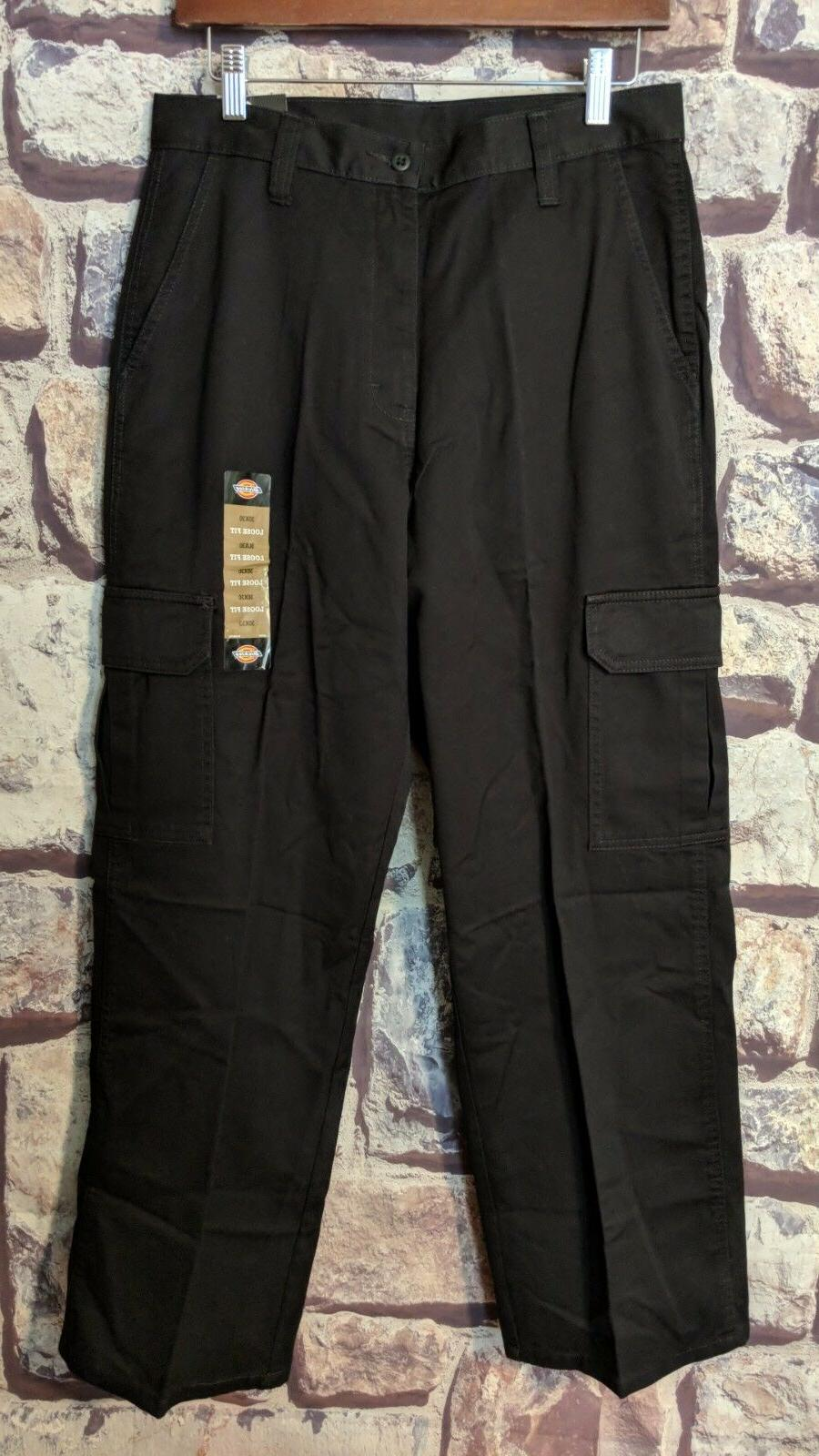 MEN'S DICKIES BLACK LOOSE FIT STRAIGHT LEG COTTON CARGO PANT